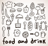 Icônes tirées par la main de nourriture et de boissons Images stock