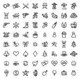 64 icônes tirées par la main noires et blanches Images stock