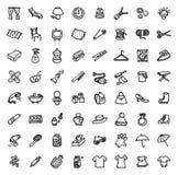 64 icônes tirées par la main noires et blanches - À LA MAISON et ACCESSOIRES Image libre de droits