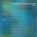 Icônes transparentes d'impression typographique. Photo libre de droits