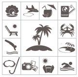Icônes tropicales de station de vacances Image libre de droits