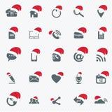 Icônes universelles d'ensemble pour le Web et le mobile avec le chapeau de Noël Images libres de droits
