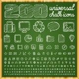 200 icônes universelles dans le style de griffonnage de craie Images stock
