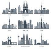 Icônes urbaines d'horizons réglées illustration de vecteur