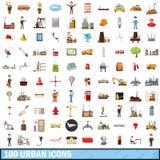 100 icônes urbaines réglées, style de bande dessinée Photos libres de droits