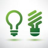 Icônes vertes d'ampoule réglées Image stock