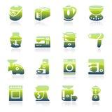 Icônes vertes d'appareils ménagers Photos libres de droits