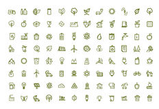 Icônes vertes d'eco de vecteur réglées Photos libres de droits