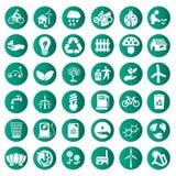 Icônes vertes d'eco de vecteur réglées Photo stock