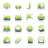 Icônes vertes d'email Photos libres de droits