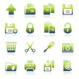 Icônes vertes de document Image stock