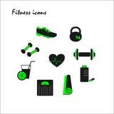 Icônes vertes de forme physique Image libre de droits