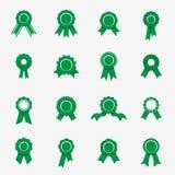 Icônes vertes de rosette Symboles de qualité, garantie, rewads Illustration Stock