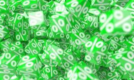Icônes vertes de ventes flottant dans le rendu de l'air 3D Photos libres de droits