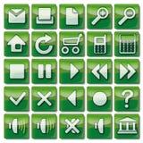 Icônes vertes de Web 1-25 Photographie stock libre de droits