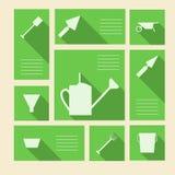Icônes vertes pour des outils de jardinage avec l'endroit pour le texte Images libres de droits