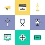 Icônes visuelles de pictogramme de production réglées Images libres de droits