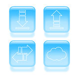Icônes vitreuses du trafic Images stock