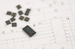 IC SMD component. Preparing for do the new project Royalty Free Stock Image