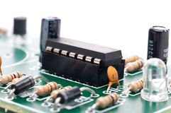 An IC in a socket on a circuit Stock Image
