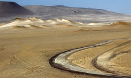 Ica desert. A road in the desert of ica in peru Royalty Free Stock Photo