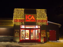 ICA. LINDESBERG, SWEDEN-JANUARY 10 2017 [Exterior of a store with christmas decoration Stock Images