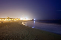 Icaria Beach in Barcelona at Night Royalty Free Stock Images