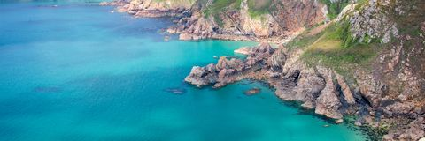 Icart point panoramic landscape, Guernsey. Icart point panoramic landscape in Guernsey Stock Photos