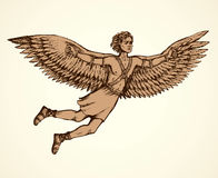 Icarus, character of ancient Greek legend. Vector drawing. Hellenic Myth tale historic symbolic character hero IKAROS is son of master DAEDALUS soar in sky, fall Royalty Free Stock Photo