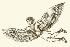 Icarus, character of ancient Greek legend. Vector drawing. Greek Mythology character  ICARUS is son of master craftsman DAEDALUS. Vector monochrome freehand ink Royalty Free Stock Image