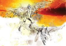 Icarus and Deadalus. In Greek mythology, Icarus is the son of the master craftsman Daedalus royalty free illustration