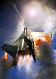 Icarus legend. Flying high, a F15 fighter plane  seems to be approaching the sun. Like with Icarus legend, its wings are burning Stock Image