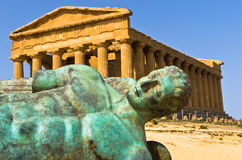 Icarus statue in front of Temple of Concordia at Agrigento Valley of the Temple, Sicily Stock Image