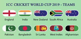ICC板球世界杯子2019队 库存例证