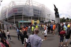 ICC полуфабрикаты NZA толпы кубка мира 2015 сверчка против RSA Стоковая Фотография