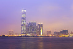 The icc building at hong kong harbour night view Royalty Free Stock Photography