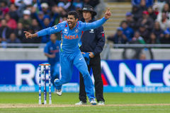 ICC Champions Trophy Final England v India. EDGBASTON, ENGLAND - June 23 2013: India's Ravindra Jadeja celebrates a wicket during the ICC Champions Trophy final royalty free stock photo