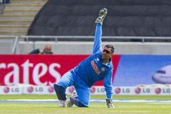 ICC Champions Trophy India v Pakistan. EDGBASTON, ENGLAND - June 15 2013: India's Mahendra Singh Dhoni appeals for the wicket of Asad Shafiq during the ICC royalty free stock images