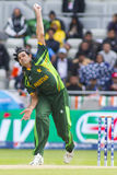 ICC Champions Trophy India v Pakistan. EDGBASTON, ENGLAND - June 15 2013: Pakistan's Mohammad Irfan bowling during the ICC Champions Trophy cricket match between royalty free stock images