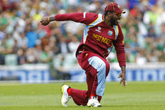 ICC Champions Trophy Pakistan v West Indies. LONDON, ENGLAND - June 07 2013: West Indies Chris Gayle during the ICC Champions Trophy cricket match between royalty free stock images