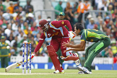 ICC Champions Trophy Pakistan v West Indies. LONDON, ENGLAND - June 07 2013: West Indies Chris Gayle runs a single during the ICC Champions Trophy cricket match royalty free stock photo