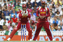 ICC Champions Trophy Pakistan v West Indies. LONDON, ENGLAND - June 07 2013: West Indies Denesh Ramdin and Chris Gayle during the ICC Champions Trophy cricket royalty free stock photos