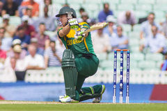 ICC Champions Trophy Semi Final England v South Africa. LONDON, ENGLAND - June 19 2013: South Africa's AB de Villiers (c & wk) batting during the ICC Champions royalty free stock photo