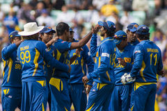 ICC Champions Trophy Sri Lanka and Australia. LONDON, ENGLAND - June 17 2013: Sri Lanka players celebrates the wicket of Shane Watson (not pictured) during the stock photo
