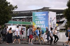 ICC Cricket World Cup 2015 Crowd Semis NZA vs RSA. AUCKLAND-Mar.24: Cricket fans gather to the ICC Cricket World Cup 2015 at Eden Park Rugby Stadium to watch the stock photography
