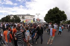 ICC Cricket World Cup 2015 Crowd Semis NZA vs RSA. AUCKLAND-Mar.24: Cricket fans gather to the ICC Cricket World Cup 2015 at Eden Park Rugby Stadium to watch the stock image