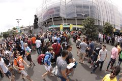 ICC Cricket World Cup 2015 Crowd Semis NZA vs RSA. AUCKLAND-Mar.24: Cricket fans gather to the ICC Cricket World Cup 2015 at Eden Park Rugby Stadium to watch the royalty free stock photo