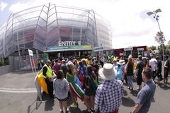 ICC Cricket World Cup 2015 Fans Eden Park Stadium. AUCKLAND-Mar.7: Cricket fans descend to the venue of the ICC Cricket World Cup 2015 jointly hosted by stock photography