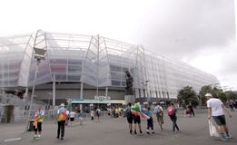 ICC Cricket World Cup 2015 Fans Eden Park Stadium. AUCKLAND-Mar.7: Cricket fans descend to the venue of the ICC Cricket World Cup 2015 jointly hosted by royalty free stock photo