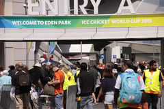 ICC Cricket World Cup 2015 Fans Eden Park Stadium. AUCKLAND-Mar. 7: Cricket fans descend to the venue of the ICC Cricket World Cup 2015 jointly hosted by stock images